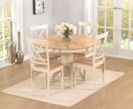 Elstree 120cm Oak And Cream Round Dt + 4 Chairs