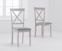 Elstree X Back Grey/Grey Fabric Padded Chair (PAIRS)