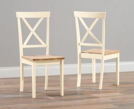 Elstree Solid Hardwood & Painted Cream Dining Chairs (Pairs)