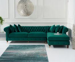 Fiona Green Velvet Right Facing Chesterfield Chaise Sofa