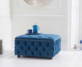 Fiona Blue Velvet Square Footstool