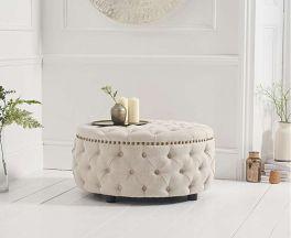Fiona Cream Linen Round Footstool
