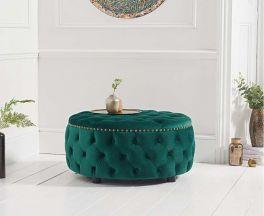 Fiona Green Velvet Round Footstool