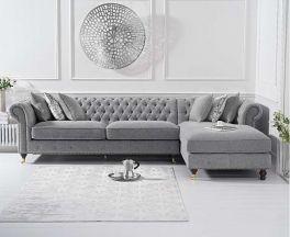 Fiona Grey Linen Right Facing Chaise Sofa
