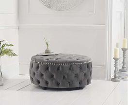 Fiona Grey Velvet Round Footstool