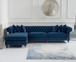 Fiona Blue Velvet Left Facing Chesterfield Chaise Sofa
