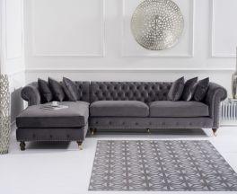 Fiona Grey Velvet Left Facing Chesterfield Chaise Sofa