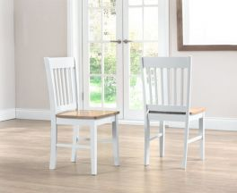 Genovia Oak And White Dining Chairs (Pairs)