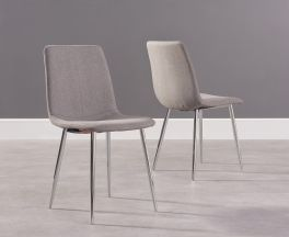 Hatfield Grey Fabric And Chrome Dining Chairs (Pairs)