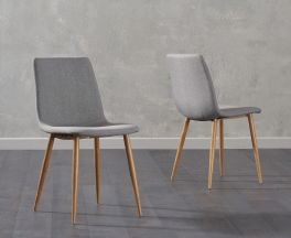 Hatfield Grey Fabric Wooden Leg Dining Chairs (Pairs)