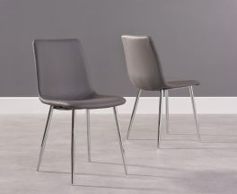 Hatfield Grey Faux Leather And Chrome Dining Chairs (Pairs)