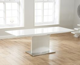 Hayden 160cm White High Gloss Extending Dining Table