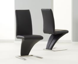 Hereford Black Pu Leather & Chrome Chairs (Pairs)