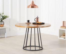 Heron 110cm Ash and Veneer Round Industrial Dining Table