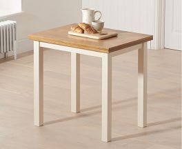Hove 60cm (120cm) Solid Hardwood & Painted Extending Dining Table - Light Oak & Cream