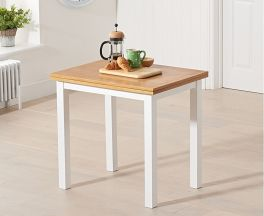 Hove 60cm (120cm) Solid Hardwood & Painted Extending Dining Table - Light Oak & White (Use Only With Pt30216)