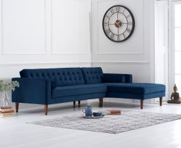 Idriana Blue Velvet Right Facing Chaise Sofa