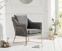 Larna Grey Velvet Accent Chair