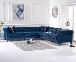 Lauren Blue Velvet 2 + 2 Corner Sofa
