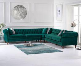 Lauren Green Velvet 2 + 2 Corner Sofa