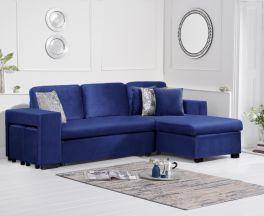 Lara Blue Velvet Reversible Chaise Sofa Bed