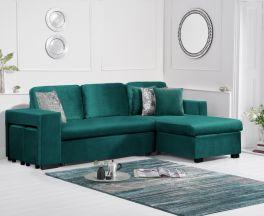 Lara Green Velvet Reversible Chaise Sofa Bed