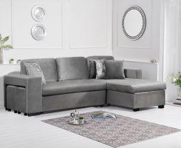 Lara Grey Velvet Reversible Chaise Sofa Bed