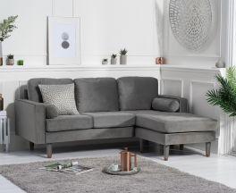 Liam Grey Velvet 3 Seater Reversible Chaise Sofa