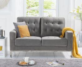 Lillian Grey Velvet 2 Seater Sofa