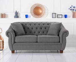 Liv Chesterfield Grey Fabric Two Seater Sofa