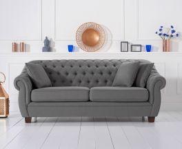 Liv Chesterfield Grey Fabric Three Seater Sofa