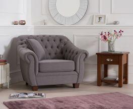 Liv Chesterfield Grey Fabric Armchair