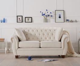 Liv Chesterfield Ivory Fabric Two Seater Sofa
