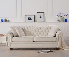 Liv Chesterfield Ivory Fabric Three Seater Sofa