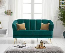 Lucinda 2 Seater Sofa in Green Velvet with Gold Legs
