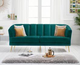 Lucinda 3 Seater Sofa in Green Velvet with Gold Legs