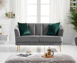 Lucinda 2 Seater Sofa in Grey Velvet with Gold Legs