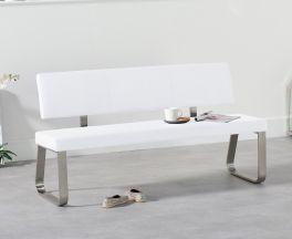 Malibu Large White Bench With Back