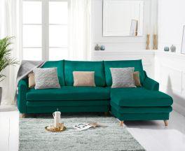 Mante Green Velvet Right Hand Facing Corner Sofa Bed