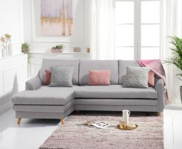 Mante Grey Linen Left Hand Facing Corner Sofa Bed