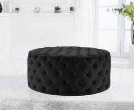 Montrose Black Velvet Round Footstool