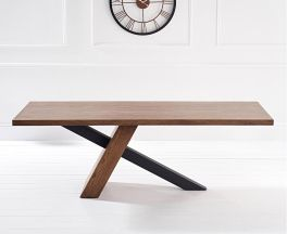 Montana 225cm Industrial Dining Table With Brushed Stainless Steel Black Leg