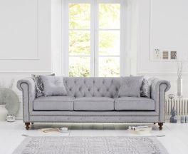 Montrose Grey Plush Fabric 3 Seater Sofa