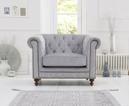 Montrose Grey Plush Fabric Armchair With Dark Ash Wood Legs
