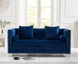 New England Blue Velvet 3 Seater Sofa