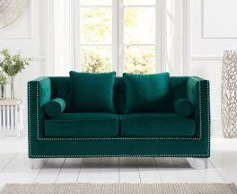 New England Green Velvet 2 Seater Sofa
