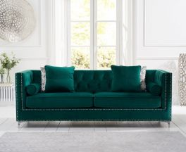 New England Green Velvet 4 Seater Sofa