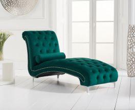 New England Green Velvet Chaise Longue
