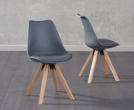 Olivier Square Leg Dark Grey Faux Leather Chairs (Pair)