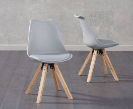 Olivier Square Leg Light Grey Faux Leather Chairs (Pair)